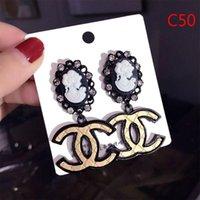 lange ohrringe großhandel-Mode Lange Ohrringe Frauen Beliebte Markendesigner Frauen Ohrstecker Luxus Kristall Diamant Perle Ohrring Für Frauen Mädchen