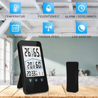 Wholesale weather station wireless sensors for sale - Group buy TOP Weather Station Wireless Temperature Humidity With Outdoor Sensor White Backlight Display Press Screen Outdoor Indoor