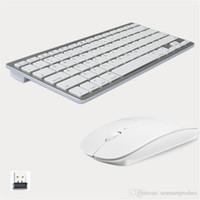 ящики для компьютеров оптовых-Модный дизайн 2.4G ультратонкая беспроводная клавиатура и мышь Combo Новые компьютерные аксессуары для Apple Mac PC Windows XP Android TV Box