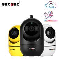 cámara ip wifi mp al por mayor-Cámara SECTEC 1080P nube inalámbrica AI IP de Wifi de seguimiento automático inteligente de vigilancia de la seguridad humana Home Red de la leva del CCTV YCC365 PIO APP