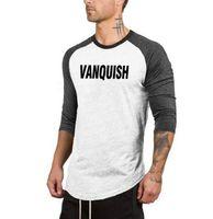 xxl damgası toptan satış-SıCAK 2019 spor salonu VANQUISH mektubu damga adam yedi kollu T-shirt yaka kollu elbise gömlek pamuk basketbol eğitim mektubu