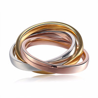 Wholesale triple wedding ring set for sale - Group buy 2018 Rose Gold Silver Triple Circle in Titanium Steel Triple Ring Three Mix Color Ring Set Women Wedding Engagement Ring Bands