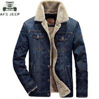ingrosso giacca invernale jeep-AFS JEEP marchio di abbigliamento spessore caldo inverno Denim Jacket Uomini collare del basamento Plus Size 4XL Mens Jeans Cowboy Jacket Jaqueta
