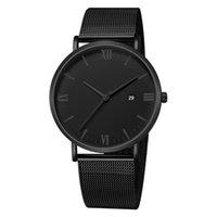 роскошные ультратонкие часы оптовых-Мужские часы роскошные кварцевые ультратонкие наручные часы мужские досуг нержавеющая сталь группа наручные часы мужские часы relogio masculino