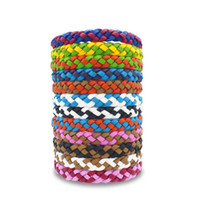 Wholesale boys bracelet weave resale online - Mosquito Repellent Leather Bracelet Anti mosquito Woven Wristband Insect Repellent Band Bug Pest Control Outdoor Protection Bracelet A5904