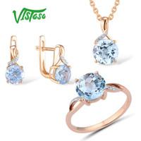pendientes de oro topacio azul al por mayor-VISTOSO Set de joyas para mujer Pure 14K 585 Rose Gold Sparkling Sky Blue Topaz Diamond Earrings Anillo Colgante Set Fine Jewelry