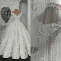 Wholesale dubai sexy wedding dresses resale online - 2020 Arabic Dubai Vintage Wedding Dresses Sheer D Floral Appliques Beads Plus Size Wedding Dress Princess Ball Gown Vestido De Novia