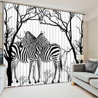 cortinas da sala de zebra venda por atacado-Personalizar a cortina da janela da sala de estar quarto Abstrato zebra da árvore japonesa cortinas de janela