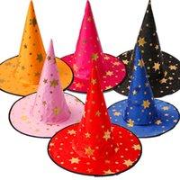 süslü önlük toptan satış-Cadılar bayramı Cadı Kap Parti Cosplay Prop Festivali Fantezi Elbise Çocuk Kostümleri Cadı Sihirbazı Kıyafeti Şapka Kostüm çocuklar Için şapka RRA1613