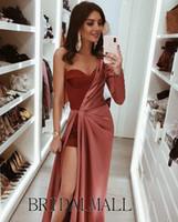 Wholesale high low dress evening ivory for sale - Group buy Dark Red Pleats Satin Evening Dresses Elegant One Shoulder Formal Celebrity Party Gowns Sexy Leg Slit High Low Prom Dresses Robes de soirée