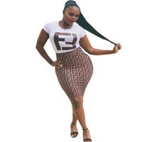 короткие белые юбки оптовых-2019 лето женщины Bodycon платья ouble F письмо печатных с коротким рукавом платье белый футболка длиной до колен цельный юбка ночной клуб наряд C485