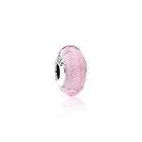 corazones de plata de ley al por mayor-S925 plata esterlina núcleo rosa facetado Lampwork cuentas de cristal encantos Fit Pandora pulseras collar DIY para mujer joyas accesorios PDZ125