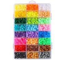 kinderkornspielzeug großhandel-1000 stücke 5mm EVA Hama Perler Perlen Spielzeug Kinder Spaß Handwerk DIY Handmaking Sicherungsperle Multicolor Kreative Intelligenz Lernspielzeug C6313