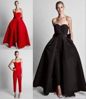 terno de vestido branco vermelho venda por atacado-2020 Sexy preto branco vermelho Vestidos Wear querida mangas Train destacável cetim Ternos até o chão Formal Party Dress Prom Vestidos
