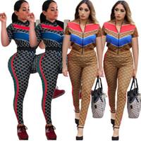 bayan kısa kollu hırka toptan satış-Kadın 2 parça pantolon set hırka zip boyun fermuar panelli baskı kısa kollu mahsul en çizgili bodycon tayt pantolon yaz giyim 339