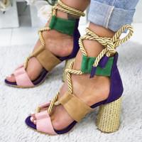 women s chunky heel dress shoes venda por atacado-Newest2 mulheres sapatos de salto alto banquete sapatos de casamento vestido de festa sapatos sandálias de salto alto chinelos Sapatos casuais Rebite sandálias 35-43