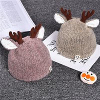 Wholesale baby hat horn resale online - 0 years baby deer horn cute wool knitting caps Christmas Toddler Babies Cartoon Winter hat colors