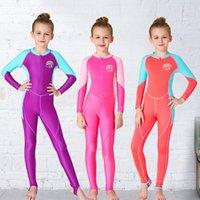 cores do terno misturado venda por atacado-Crianças Terno de Mergulho Protetor Solar Swimwear Natação Set Bloco de Cor Conjoined Adorável Secagem Rápida Lovely Colors Mix 53 hs F1