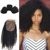 venta de paquetes de cierre al por mayor-Kinky Curly Silk Base Closure Paquetes de cabello humano mongol con Kinky Curly Closure En venta FDSHINE