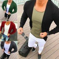 blusas de cor clara venda por atacado-Homens elegantes de malha Cardigan Jacket Slim manga comprida Casual Sweater Brasão Plain Cor Trendy Malhas Outwear Popular em Ins