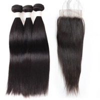 Wholesale burgundy remy human hair weave resale online - 9A Loose Wave Deep Wave Straight Water Wave Human Hair Bundles with Closure Bundles with Lace Closure inch Remy Human Hair Extensions