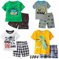 bragas de algodón amarillo al por mayor-Lo nuevo Juego de ropa amarillo Dino Boy Set Camiseta para niños ROAR Traje de pantalón a cuadros Traje para niños 100% Algodón Tops Bragas 2 -7 Año