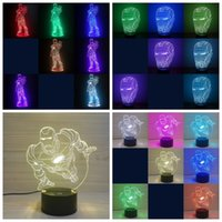 Wholesale iron man night light for sale - Group buy 3d Night Light Iron Man Led Lamp Mask Seven Colors Illusion Bedroom Creative Gift Various Styles rw F1