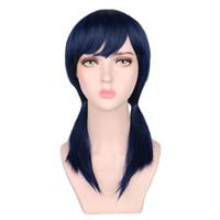 парик конского хвоста косплей синий оптовых-Темно-синий короткий парик косплей два хвостики костюм ну вечеринку парик из синтетических волос высокой температуры
