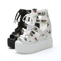 cuñas 12cm tacón al por mayor-Sandalias de mujer 2019 tacones Hight 12 cm zapatos de cuña para mujer Tacones Sandalias Mujer Zapatos de verano Sandalias de tacón de cuero