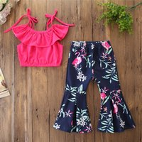 Wholesale summer weaves for sale - Group buy kids outfits clothes girls ruffle Sling Lace Top Flamingo Printed Flare Pants piece Set Summer Fashion kids suits Clothing Sets