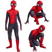hombre zentai al por mayor-2019 Kids Spider Man Lejos de casa Peter Parker Cosplay Zentai Spiderman Superhero Body Traje Monos C31