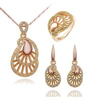 Wholesale 14k gold jewerly resale online - Austrian Crystal Jewellery Sets Charm Silver Yellow Jewerly Sets African Bridal Wedding Jewelry Sets For Women