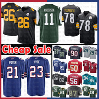 jets jerseys baratos al por mayor-Pittsburgh Cheap Steelers 26 Le'Veon Bell 78 Alejandro Villanueva Jersey Nueva York 11 Jets Robby Anderson Buffalo 21 Bills 21 Poyer
