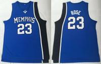Wholesale tiger uniform for sale - Men College Basketball Derrick Rose Jersey Sale Blue University Memphis Tigers Jerseys Uniform Breathable For Sport Fans