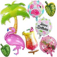 globos de aluminio en forma al por mayor-1 pcs Flamingo Leaves Fruit Sun Foil Balloon Hawaiian Luau Tropical Suministros para fiestas Jumbo Shape Summer Party Birthday Balloons