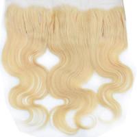 613 fermeture frontale blonde achat en gros de-Vierge Européenne Remy Cheveux Vague de Corps Naturel Droit Grade 10A 613 Blonde Cheveux Humains Partie Gratuite Suisse Dentelle Frontale Fermeture 13x4 Accessoires