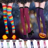 sıkı diz elbiseleri toptan satış-Kadın Çizgili Tayt Cadılar Bayramı Kostüm Giydir Uzun Diz Çorap Tayt Ev Partisi Noel Malzemeleri DHL Gemi HH9-2349