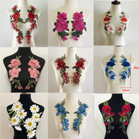 Wholesale designer patches for sale - Group buy 2pcs Set Rose Flower Embroidery Patches Sticker for Clothes Parches Para La Ropa Applique Embroidery Flower Patches