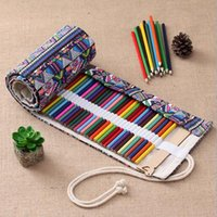 Wholesale traditional pen resale online - XRHYY Holes Handmade Traditional National Style Simple Creative Pen Bag Curtain Box pencil organizer Gift For travel artists