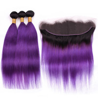 Wholesale ombre purple hair weave straight resale online - Black to Purple Ombre Straight Indian Virgin Hair Weave Wefts with Frontal Closure Bundles B Purple Ombre Hair with Lace Frontal x4