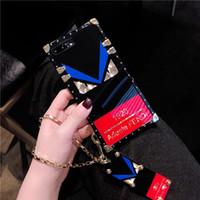 pulsera trasera al por mayor-Chapado cuadrado Espejo brillante Contraportada Letra impresa Pulsera Pulsera Funda de teléfono suave para iPhone XS Max XR X 6s 8 7 Plus