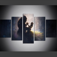 Wholesale beauty beast painting resale online - 5 Piece Large Size Canvas Wall Art Pictures Creative Forest Psychedelic Beauty Dances with Beast Art Print Oil Painting for Living Room