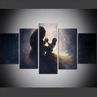 schönheit tier malerei großhandel-5 Stück Große Größe Leinwand Wandkunst Bilder Kreative Wald Psychedelic Schönheit Tänze mit Tier Kunst Druck Ölgemälde für Wohnzimmer