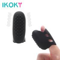 dedo adulto massagem venda por atacado-IKOKY Dedo Vibrador Silicone Clitóris Estimulador Adulto Produtos Sexo vibrador para a Mulher Vagina Mama Massagem À Prova D 'Água