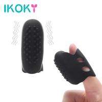 clitoris de massage pour adultes achat en gros de-IKOKY Finger Vibrator Silicone Stimulateur de Clitoris Produits pour Adultes Sex vibrateur pour Femme Vagin Massage du Sein Imperméable À L'eau