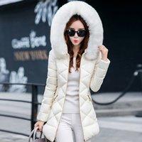 flocou para baixo casaco venda por atacado-2019 de Moda de Nova Jackets New Down Jacket gola do casaco ao ar livre para baixo Zipper letras pretas Reunindo Mulheres Winter Coats Parka Plus Size M-3XL
