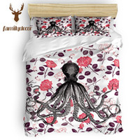 Wholesale floral print comforter sets resale online - FamilyDecor DHL Octopus And Flower Floral Comforter Cover Set Father S Day Memorial Day Living Room Turquois
