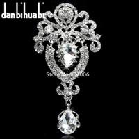 gran broche de broche de strass transparente al por mayor-Nupcial de la boda broche colgante grande flor broche cristales claros corona de la princesa joyería del Rhinestone