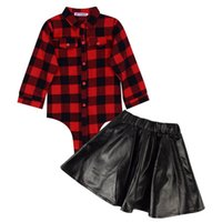 Wholesale red leather sleeve shirt resale online – Girls Fashion Set Kids Red Plaid Long Sleeve Tops Shirt Leather Skirt Clothing Set Outfits Spring Autumn Clothes Suits