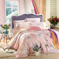Wholesale cooling sheets bedding for sale - Group buy Cool soft Spring Summer style bedding sets floral fabric Tencel flat sheet pillowcase duvet cover set